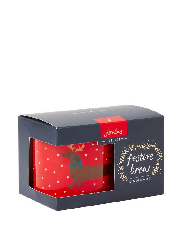 Joules Red Christmas Dog Mug, Yule Dog, Gift Boxed-0