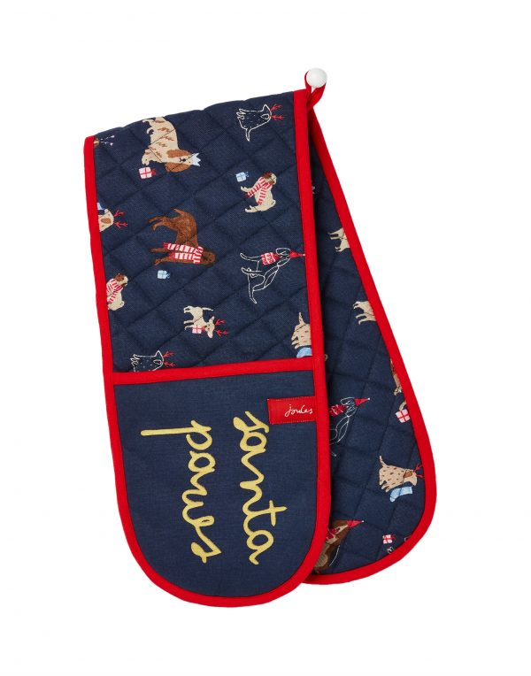Joules Christmas Dogs Navy Double Oven Gloves-0