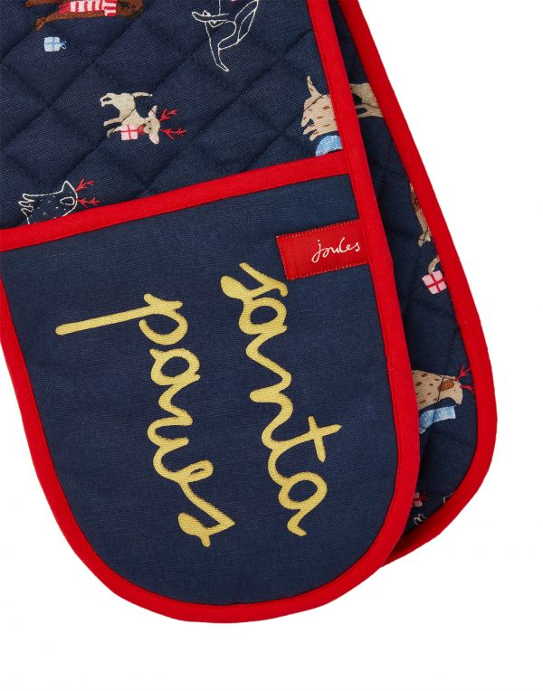 Joules Christmas Dogs Navy Double Oven Gloves-3746