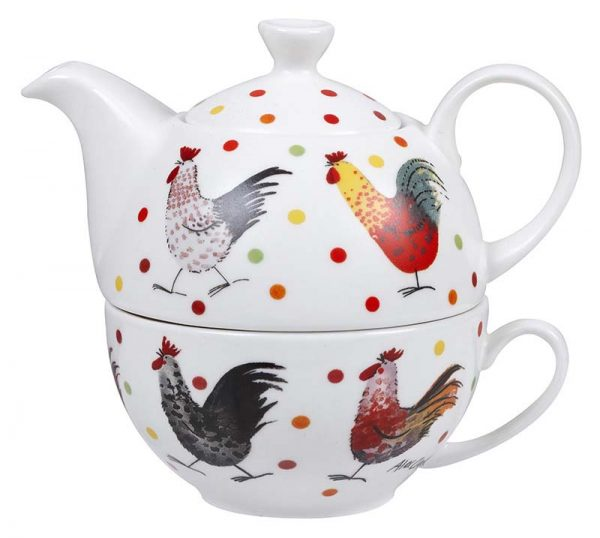 Alex Clark Rooster Tea For One Set-0