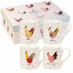Alex Clark Rooster Set of 4 Mugs, Gift Boxed-0