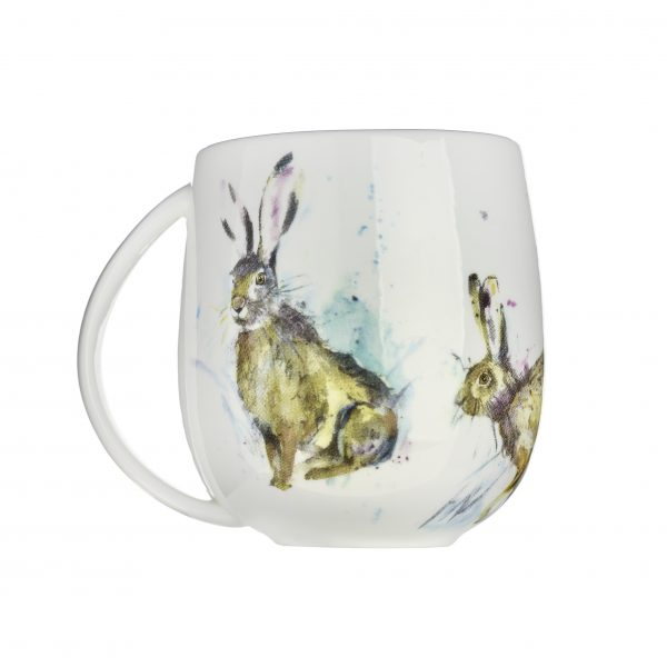 Voyage Fine Bone China Hurtling Hares Mug, 430ml-3837