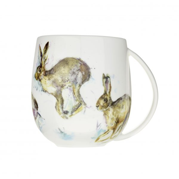 Voyage Fine Bone China Hurtling Hares Mug, 430ml-0