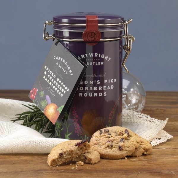 Cartwright & Butler Spiced Orange & Cranberry Shortbread Biscuits In Tin-0