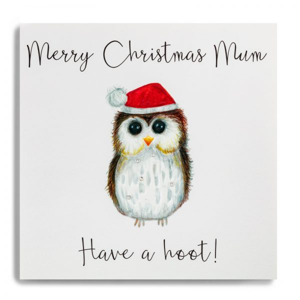 Janie Wilson Merry Christmas Mum Card, Owl-0
