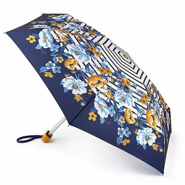 Joules Tiny Botanical Bouquet Border Stripe Umbrella -0