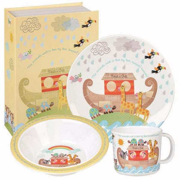 Little Rhymes Noah's Ark 3 Piece Melamine Set Gift Boxed-0