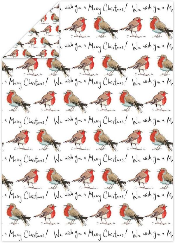 Madeleine Floyd Robin Merry Christmas Flat Wrap x 4 Sheets -0