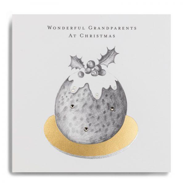Janie Wilson Wonderful Grandparents Christmas Card, Christmas Pudding-0
