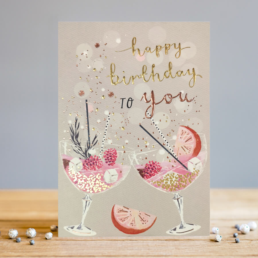 Louise Tiler Happy Birthday Cocktails Card English Designer Gifts