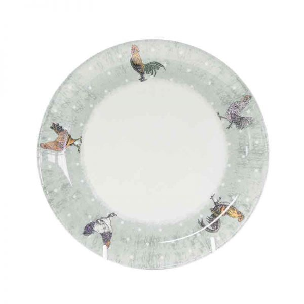 barnyard rooster dinner plate