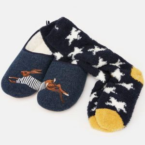 joules hare slipper and sock gift set