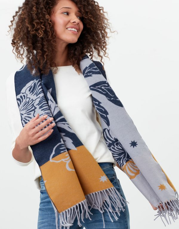joules yellow floral scarf