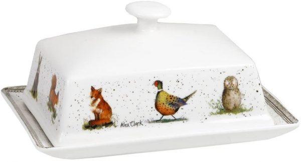 alex clark wildlife butter dish