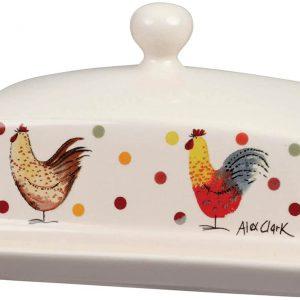 alex clark rooster butter dish