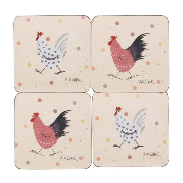 alex clark rooster coasters