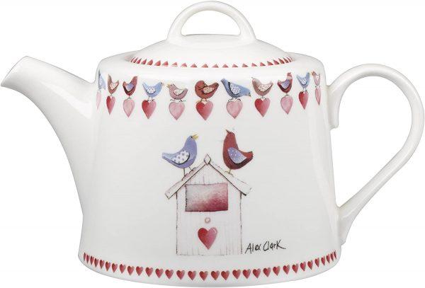 alex clark love birds teapot