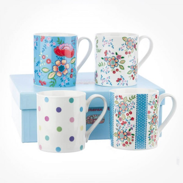 caravan trail set of 4 mugs