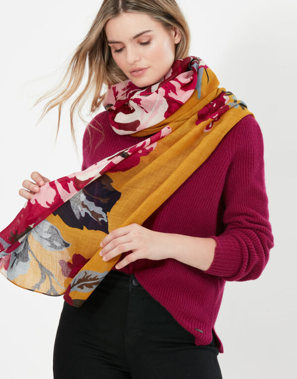 joules gold floral scarf