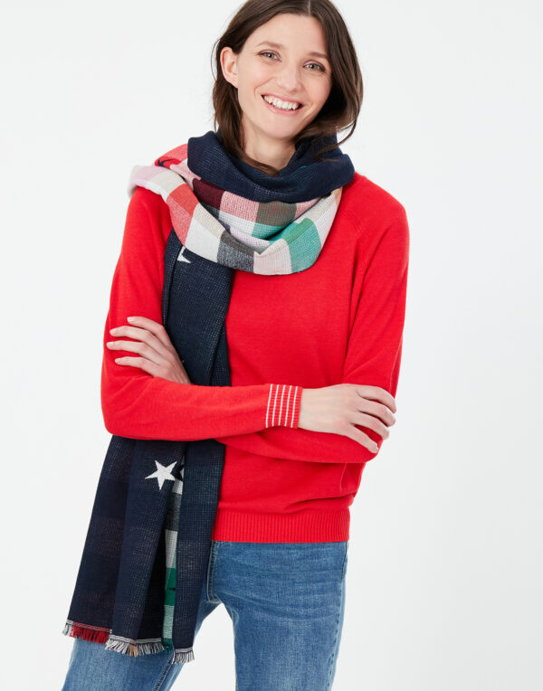 joules navy star scarf